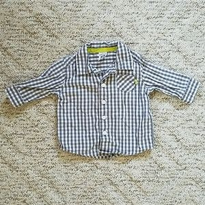 Gray and white checkered button-down